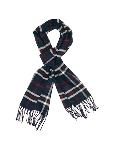 Lino Perros Men Navy Blue Check Scarf