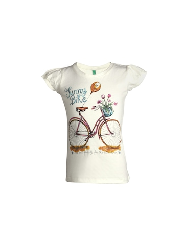 United Colors of Benetton Girls Printed Off White Top
