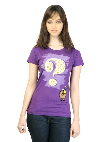 Little Miss Women Printed Purple T-shirt