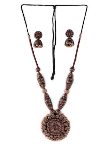 Adrika Women Brown Teracotta Jewellery Set