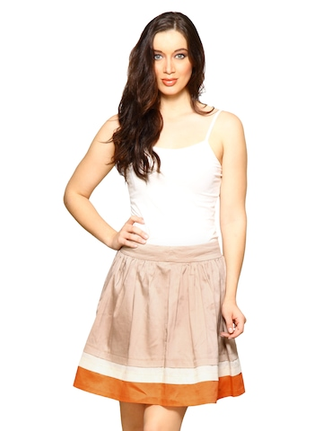 Forever New Women Clay Pleated Beige Skirts