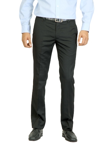 Arrow Men Black Flat Front Trousers