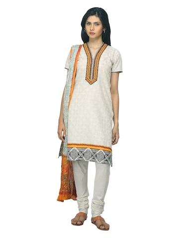 Biba Women Printed Cream Salwar Suit