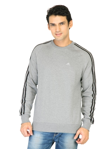 Adidas Men Solid Grey Sweatshirts