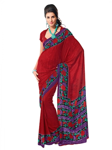 Prafful Red & Black Printed Sari