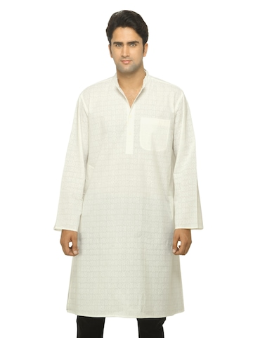 Fabindia Men Printed White Kurta