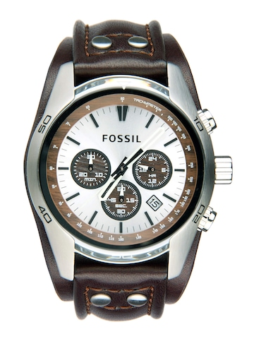 Fossil Men Silver & Brown Dial Chronograph Watch CH2565
