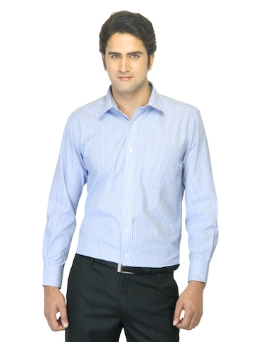 John Miller Men Striped Blue Shirt
