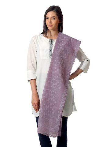 Fabindia Women Kota Silk Lavender Dupatta