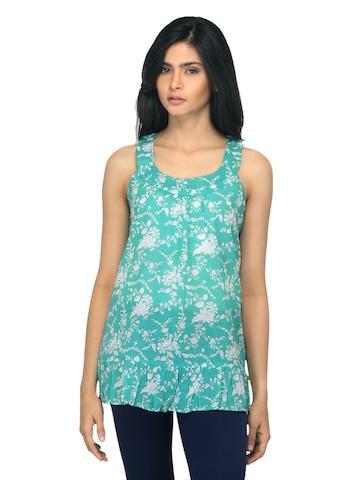 Fabindia Women Printed Turquoise Blue Top