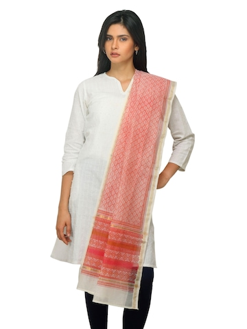 Fabindia Women Orange Chanderi Dupatta