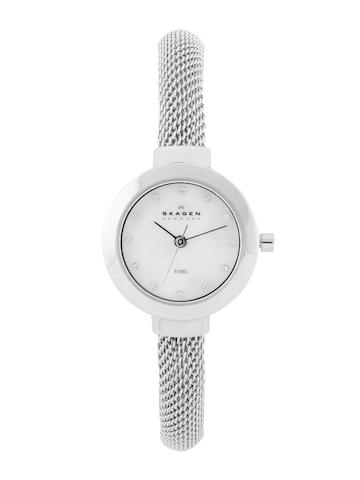 SKAGEN DENMARK Women White Mother of Pearl Dial Watch 107SSCS