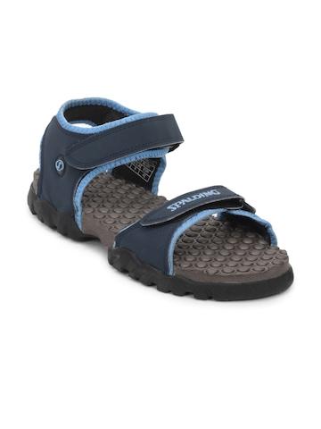 Spalding Men Grey And  Navy Blue Sandals
