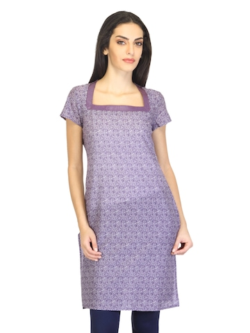 W Women Printed Purple Kurta
