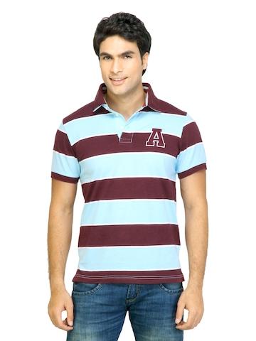 Arrow Sport Men Stripes Maroon Polo Tshirts