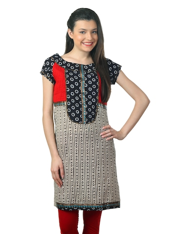 Mother Earth Women Beige & Black Kurta