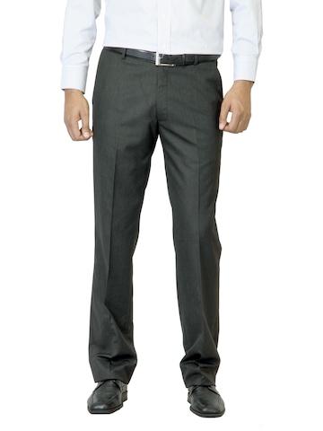Arrow Men Charcoal Flat Front Trousers