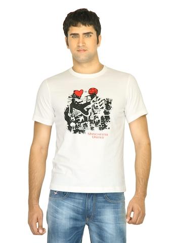 Manchester United Men Printed White Tshirt