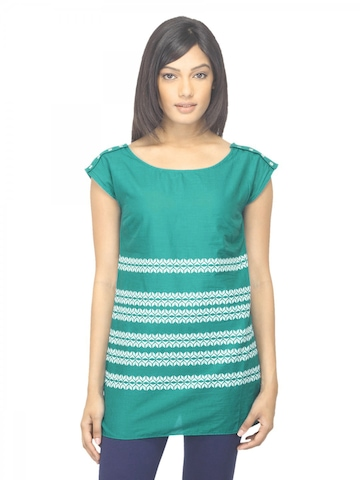 W Women Printed Green Top