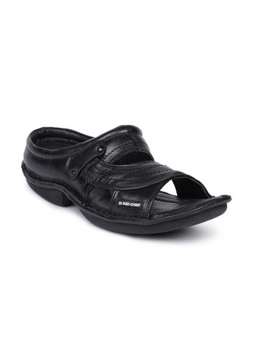 Red Chief Men Black Sandals