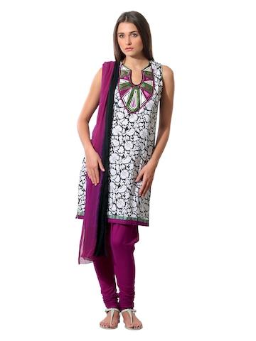 Aneri Women White & Black Printed Salwar Suit