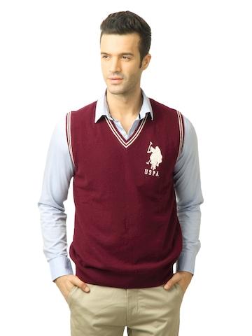 U.S. Polo Assn. Men Solid Tibetian Red Sweater