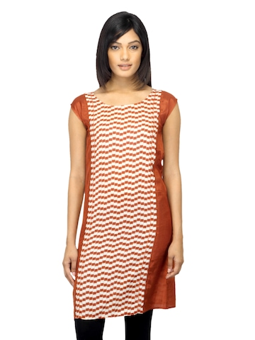 W Women Printed Rust Kurta