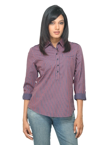 Van Heusen Woman Striped Blue Top