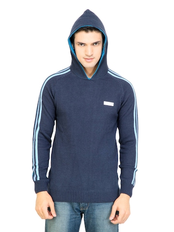 Adidas Men Solid Navy Blue Sweaters