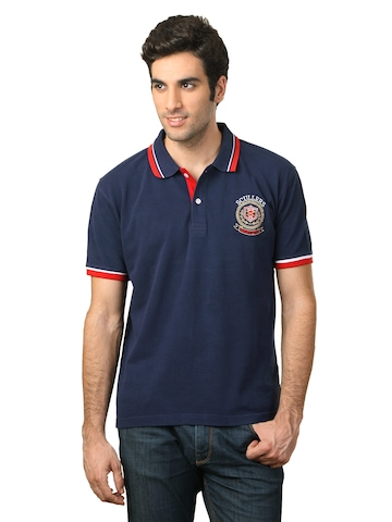Scullers Men Navy Blue polo T-shirt