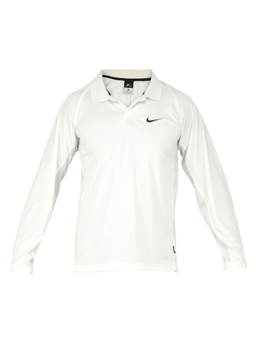 Nike Men Solid Off-White Polo Jerseys
