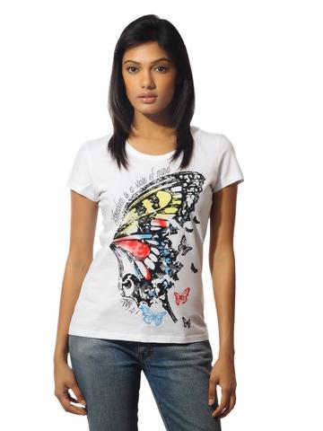 Wrangler Women Butterfly White T-shirt