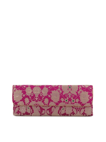 Fabindia Women Pink Silk Clutch