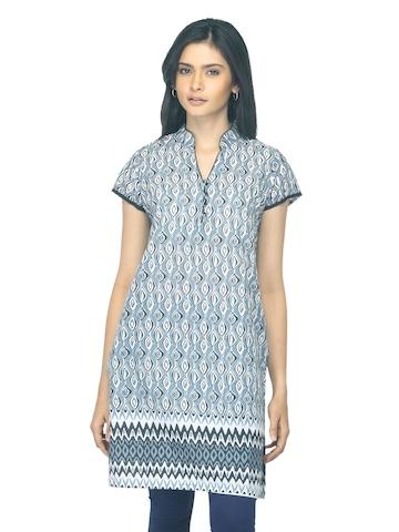 Vishudh Women Printed Grey Kurta