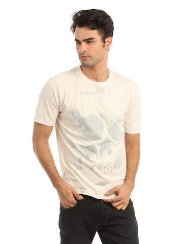 French Connection Men Cream Reverse Printed T-shirt