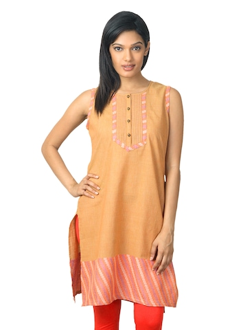Aurelia Women Brown & Orange Kurta