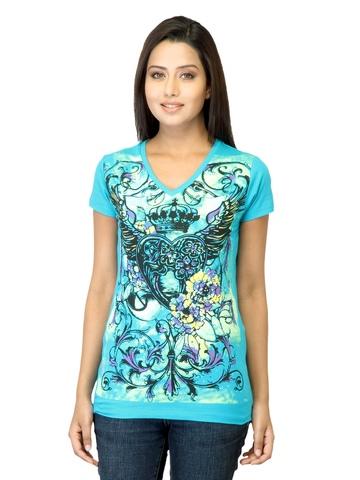 Jealous 21 Women Printed Blue Top
