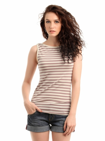 French Connection Women Mauve & Cream Striped Top
