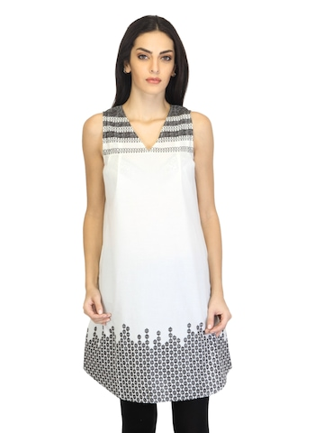 W Women Printed Off White Kurta