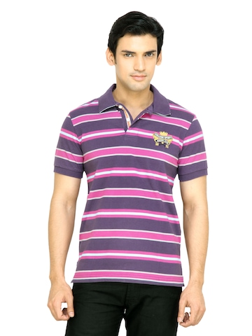 Arrow Sport Men Purple Striped T-shirt