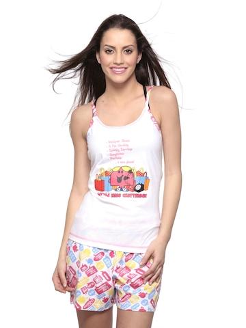 Little Miss Intimates White Printed Pyjama Set