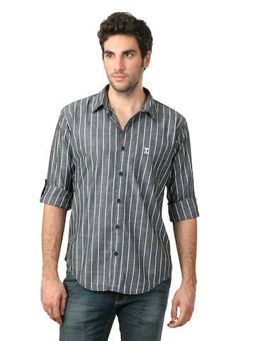 Basics Men Grey Striped Shirt
