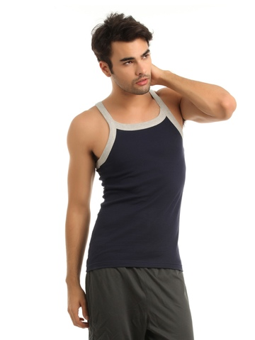 Hanes Men Navy Blue Innerwear Vest
