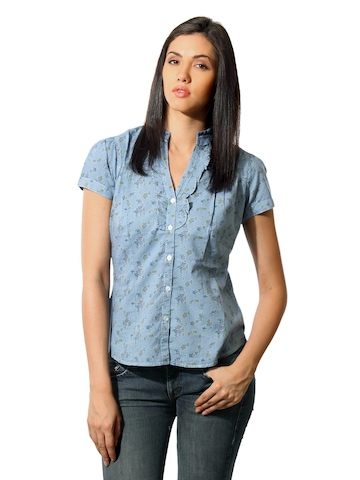 Mineral Women Floral Blue Top