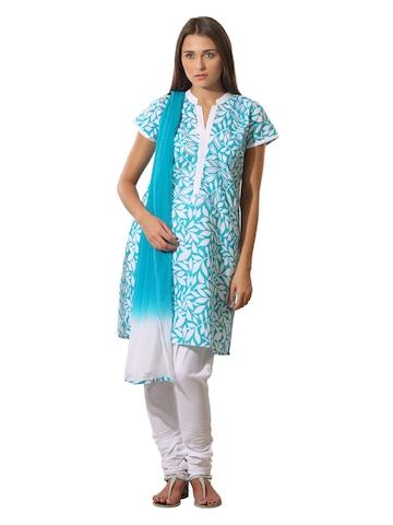 Aneri Women Blue & White Printed Salwar Suit