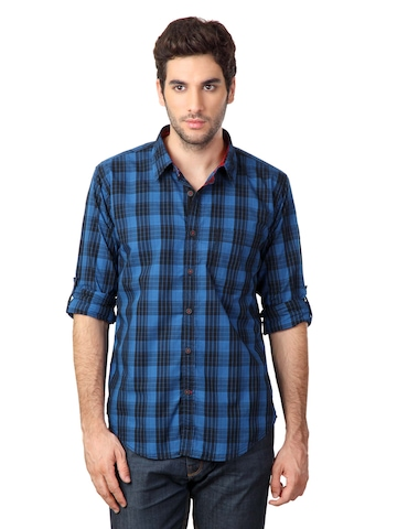 Probase Blue & Black Checked Slim Fit Casual Shirt