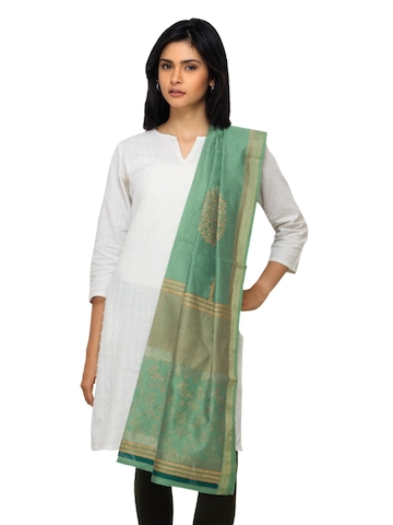 Fabindia Women Green Chanderi Dupatta
