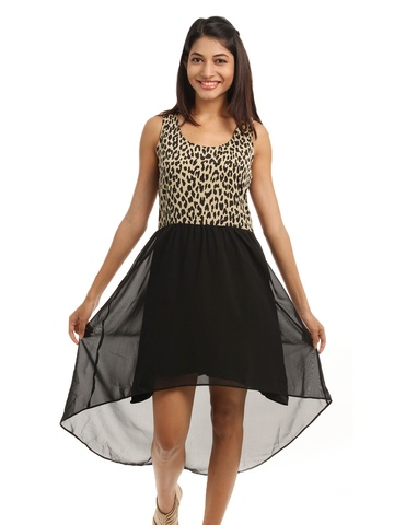 Femella Women Black Animal Print Dress