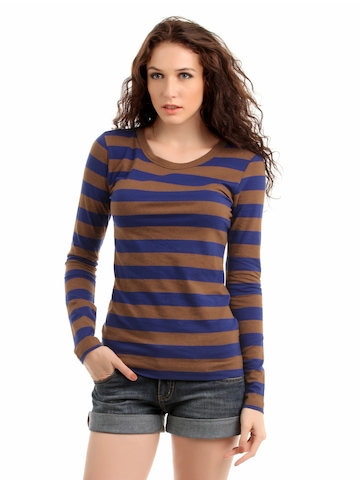 French Connection Women Brown & Blue Striped Top