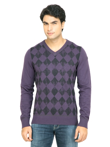 s.Oliver Men Check Purple Sweater
